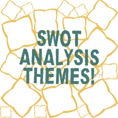 Handwriting text Swot Analysis Themes. Concept meaning Subject matter to undergo comprehensive analysis Ribbon Strips Formed as Geometric Shapes in Seamless Repeat Pattern photo