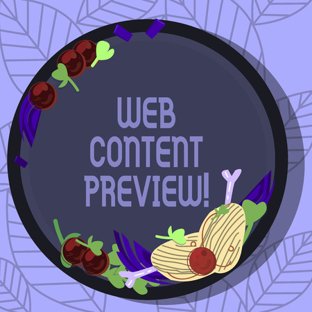 Writing note showing Web Content Preview. Business photo showcasing textual visual aural that encountered of user experience Hand Drawn Lamb Chops Herb Spice Cherry Tomatoes on Blank Color Plate