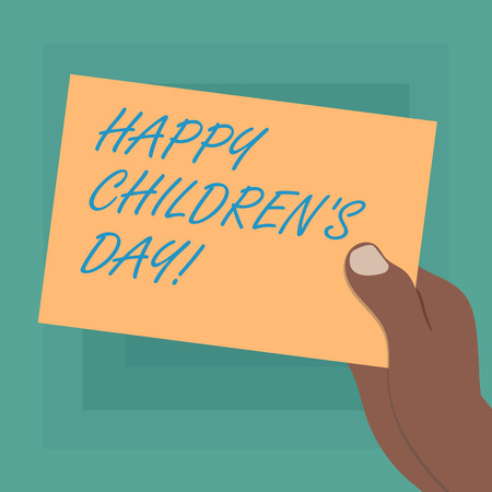 Conceptual hand writing showing Happy Children S Day. Business photo showcasing fixed date made to celebrate children and having fun Drawn Hu analysis Hand Holding Blank Color Paper Cardboard