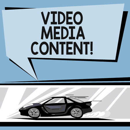 Writing note showing Video Media Content. Business photo showcasing images and audio used to communicate brand message Car with Fast Movement icon and Exhaust Smoke Speech Bubble