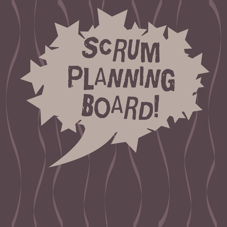 Word writing text Scrum Planning Board. Business concept for visual display of the progress of the Scrum team Blank Oval Color Speech Bubble with Stars as Outline photo Text Space