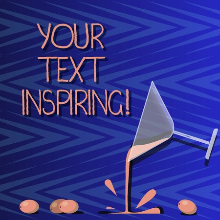 Word writing text Your Text Inspiring. Business concept for words make you feel exciting and strongly enthusiastic Cocktail Wine Glass Pouring Liquid with Splash Grapes and Shadow photo