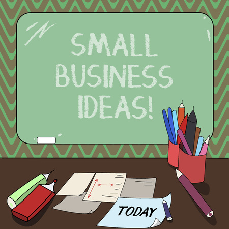 Conceptual hand writing showing Small Business Ideas. Business photo showcasing A concept that can be used for financial business gain Mounted Blackboard with Chalk Writing Tools Sheets on Desk