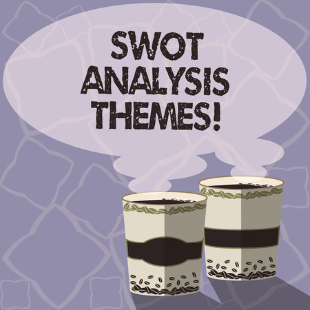 Handwriting text writing Swot Analysis Themes. Concept meaning Subject matter to undergo comprehensive analysis Two To Go Cup with Beverage and Steam icon Blank Speech Bubble photo