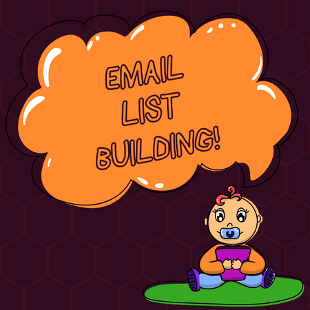 Text sign showing Email List Building. Conceptual photo allows distribution of information analysisy Internet users Baby Sitting on Rug with Pacifier Book and Blank Color Cloud Speech Bubble Banco de Imagens