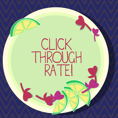 Text sign showing Click Through Rate. Conceptual photo proportion of visitors who follow link to particular site Cutouts of Sliced Lime Wedge and Herb Leaves on Blank Round Color Plate Stock fotó