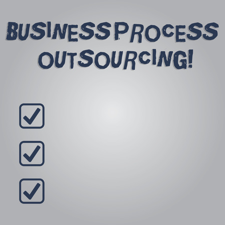 Writing note showing Business Process Outsourcing. Business photo showcasing Contracting work to external service provider Blank Color Rectangular Shape with Round Light Beam Glowing in Center