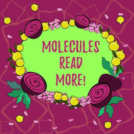 Text sign showing Molecules Read More. Conceptual photo smallest amount of chemical Atom particle mite Floral Wreath made of Tiny Seeds Small Glossy Pomegranate and Cut Beet
