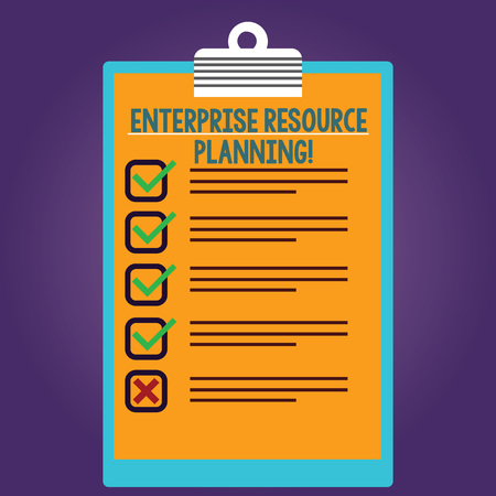 Word writing text Enterprise Resource Planning. Business concept for analysisage and integrate core business processes Lined Color Vertical Clipboard with Check Box photo Blank Copy Space Stock Photo