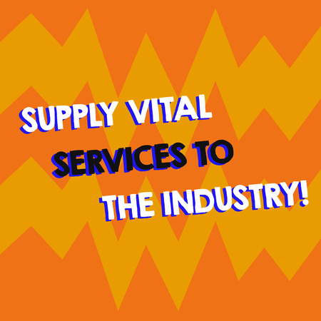 Writing note showing Supply Vital Services To The Industry. Business photo showcasing Power supplies for companies Geometric Design Zigzag Blank Text Space for Poster Advertisement Standard-Bild
