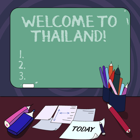 Handwriting text Welcome To Thailand. Concept meaning inviting showing or tourist to visit your home country Mounted Blank Color Blackboard with Chalk and Writing Tools Sheets on Desk