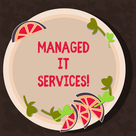 Text sign showing Managed It Services. Conceptual photo assumes responsibility providing defined set activities Cutouts of Sliced Lime Wedge and Herb Leaves on Blank Round Color Plate