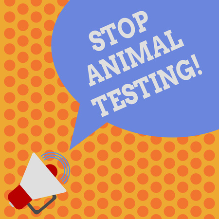 Writing note showing Stop Animal Testing. Business photo showcasing scientific experiment which live animal forced undergo Megaphone with Sound Volume Icon and Blank Color Speech Bubble photo