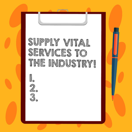 Writing note showing Supply Vital Services To The Industry. Business photo showcasing Power supplies for companies Sheet of Bond Paper on Clipboard with Ballpoint Pen Text Space Standard-Bild