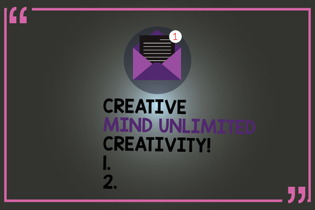 Text sign showing Creative Mind Unlimited Creativity. Conceptual photo Full of original ideas brilliant brain Open Envelope with Paper New Email Message inside Quotation Mark Outline Stock fotó