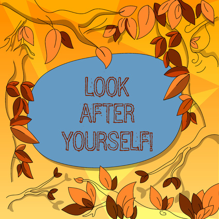 Word writing text Look After Yourself. Business concept for take care of you someone or something has value Tree Branches Scattered with Leaves Surrounding Blank Color Text Space