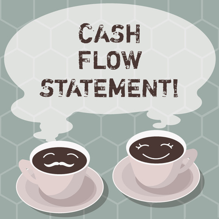 Writing note showing Cash Flow Statement. Business photo showcasing financial measures cash generated used by company period Sets of Cup Saucer for His and Hers Coffee Face icon with Blank Steam