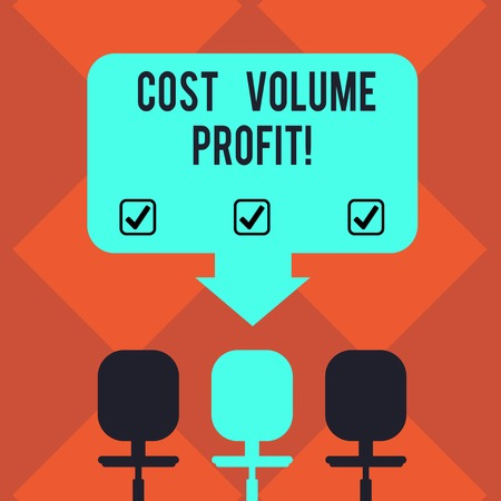 Handwriting text Cost Volume Profit. Concept meaning form of cost accounting and It is simplified model Blank Space Color Arrow Pointing to One of the Three Swivel Chairs photo Foto de archivo