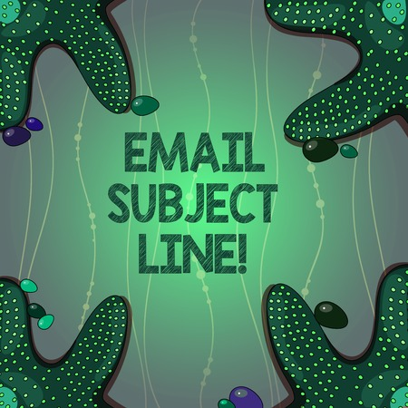 Writing note showing Email Subject Line. Business photo showcasing introduction that identifies email or message intent Starfish on Four Corners with Pebbles for Poster Ads Cards