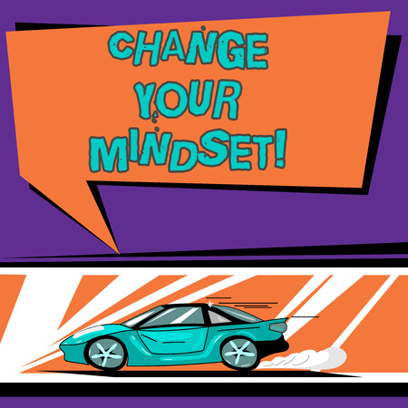 Conceptual hand writing showing Change Your Mindset. Business photo text fixed mental attitude or disposition demonstrating responses Car with Fast Movement icon and Exhaust Smoke Speech Bubble