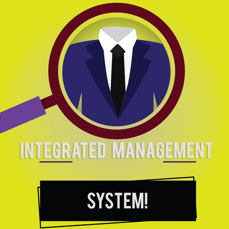 Handwriting text Integrated Management System. Concept meaning combines all components of a business into one Magnifying Glass photo Enlarging Inspecting a Tuxedo and Label Tag Below Stok Fotoğraf