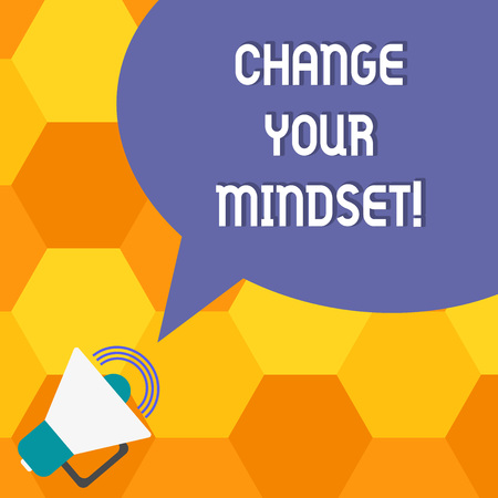 Handwriting text Change Your Mindset. Concept meaning fixed mental attitude or disposition demonstrating responses Megaphone with Sound Volume Icon and Blank Color Speech Bubble photo Standard-Bild