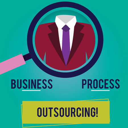 Conceptual hand writing showing Business Process Outsourcing. Business photo showcasing Contracting work to external service provider Magnifying Glass Enlarging a Tuxedo and Label Tag Below Banque d'images