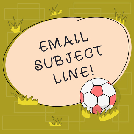 Text sign showing Email Subject Line. Conceptual photo introduction that identifies email or message intent Soccer Ball on the Grass and Blank Outlined Round Color Shape photo