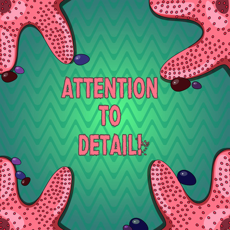 Handwriting text writing Attention To Detail. Concept meaning ability to achieve thoroughness and accuracy in task Starfish photo on Four Corners with Colorful Pebbles for Poster Ads Cards