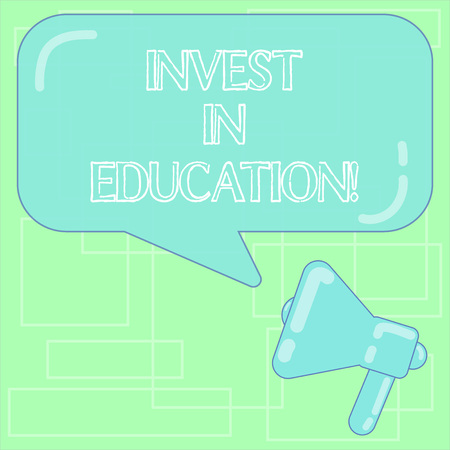 Text sign showing Invest In Education. Conceptual photo sponsor agrees provide student with funding for college Megaphone photo and Blank Rectangular Color Speech Bubble with Reflection Reklamní fotografie
