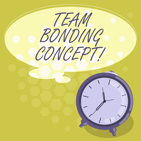 Conceptual hand writing showing Team Bonding Concept. Business photo showcasing Improve workplace projects that involve teamwork Color Thought Speech Bubble with Outline and Alarm Clock