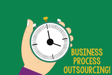 Text sign showing Business Process Outsourcing. Conceptual photo Contracting work to external service provider Hu analysis Hand Holding Mechanical Stop Watch Timer with Start Stop Button
