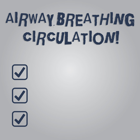 Writing note showing Airway Breathing Circulation. Business photo showcasing Memory aid for rescuers performing CPR Blank Color Rectangular Shape with Round Light Beam Glowing in Center Foto de archivo