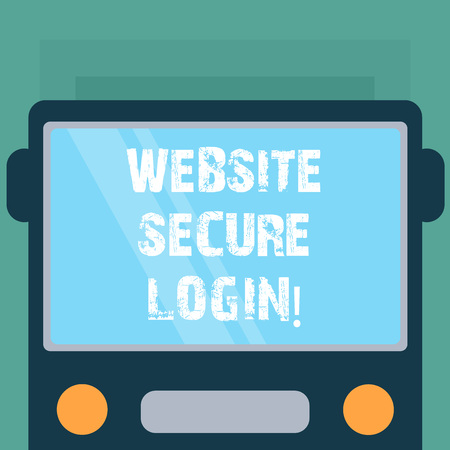 Conceptual hand writing showing Website Secure Login. Business photo showcasing Uses SSL to encrypt the user name and password Drawn Flat Front View of Bus with Window Shield Reflecting