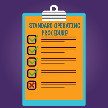Word writing text Standard Operating Procedure. Business concept for Detailed directions on how to perform a routine Lined Color Vertical Clipboard with Check Box photo Blank Copy Space Imagens - 116291441
