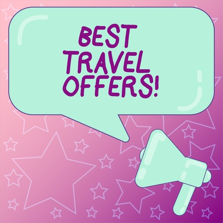 Handwriting text writing Best Travel Offers. Concept meaning visit other countries with great discount promotion Megaphone photo and Blank Rectangular Color Speech Bubble with Reflection