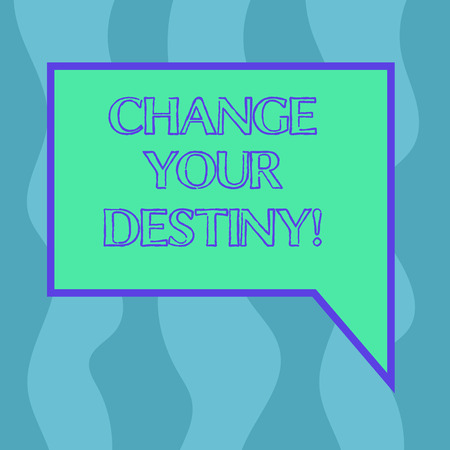 Conceptual hand writing showing Change Your Destiny. Business photo showcasing what is very likely to happen in far near future Blank Deformed Color Round Shape with Small Circles Banque d'images - 116293618