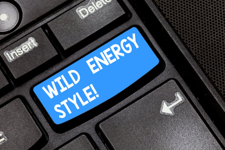 Writing note showing Wild Energy Style. Business photo showcasing made near from technologies impose no threat to wildlife Keyboard key Intention to create computer message pressing keypad idea