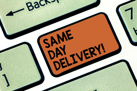 Word writing text Same Day Delivery. Business concept for order will leave our warehouse Same date you ordered Keyboard key Intention to create computer message pressing keypad idea Reklamní fotografie