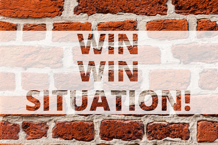 Writing note showing Win Win Situation. Business photo showcasing choice which is good for everyone who is involved Brick Wall art like Graffiti motivational call written on the wall Stockfoto
