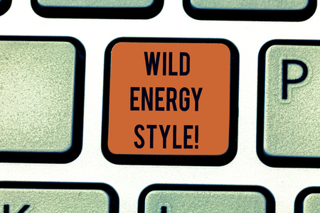 Word writing text Wild Energy Style. Business concept for made near from technologies impose no threat to wildlife Keyboard key Intention to create computer message pressing keypad idea