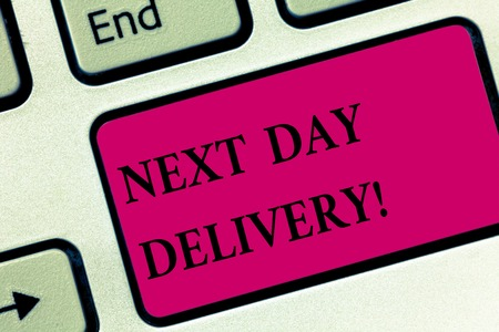 Handwriting text writing Next Day Delivery. Concept meaning service allows you have goods delivered day after order Keyboard key Intention to create computer message pressing keypad idea