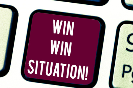 Conceptual hand writing showing Win Win Situation. Business photo text choice which is good for everyone who is involved Keyboard key Intention to create computer message idea