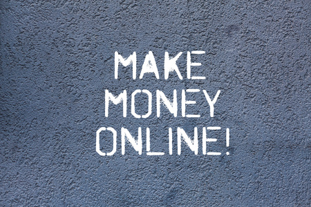 Text sign showing Make Money Online. Conceptual photo obtain cash earning it or by making profit using internet Brick Wall art like Graffiti motivational call written on the wall