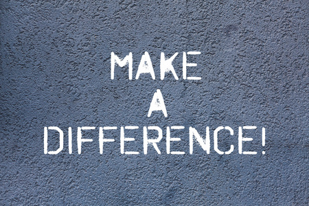 Text sign showing Make A Difference. Conceptual photo have significant effect on demonstrating showing or situation Brick Wall art like Graffiti motivational call written on the wall