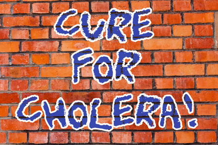 Word writing text Cure For Cholera. Business concept for restoration of lost fluids and salts through rehydration Brick Wall art like Graffiti motivational call written on the wall