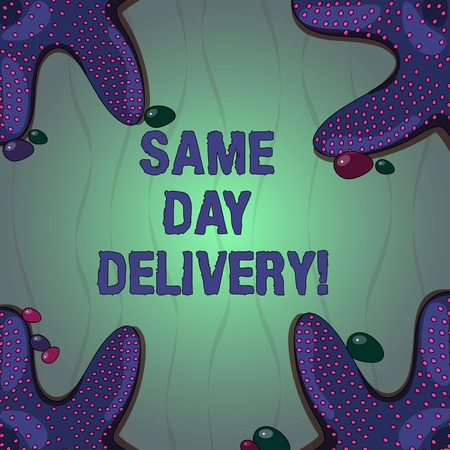 Conceptual hand writing showing Same Day Delivery. Business photo text order will leave our warehouse Same date you ordered Starfish on Four Corners with Pebbles for Poster Ads Cards