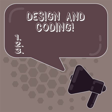 Conceptual hand writing showing Design And Coding. Business photo showcasing tool that can be used in design and planning process Megaphone and Rectangular Color Speech Bubble Reflection