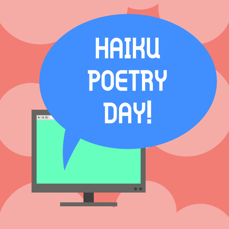 Writing note showing Haiku Poetry Day. Business photo showcasing traditional form of Japanese that consist of three lines Mounted Computer Monitor Blank Screen with Oval Color Speech Bubble Stok Fotoğraf