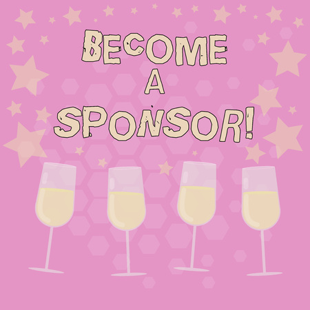 Text sign showing Become A Sponsor. Conceptual photo paying some or all of the expenses connected with it Filled Cocktail Wine Glasses with Scattered Stars as Confetti Stemware Stockfoto